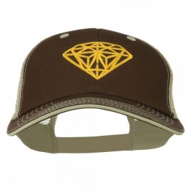 Diamond Outline Embroidered Big Size Washed Mesh Cap