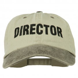 Movie Director Embroidered Washed Two Tone Cap - Beige Brown