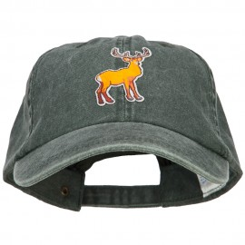 Deer Wild Animal Patched Washed Cotton Twill Cap