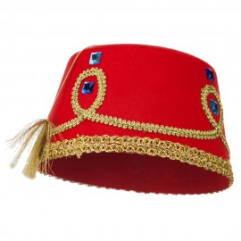 Decorated Felt Fez Hat