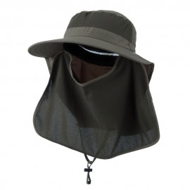 UV 50+ Talson Large Bill Flap Hat with Detachable Inner Flap - Olive