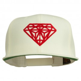 Big Diamond Outline Embroidered Flat Bill White Cap