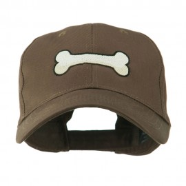 Dog Bone Shape Embroidered Cap - Brown