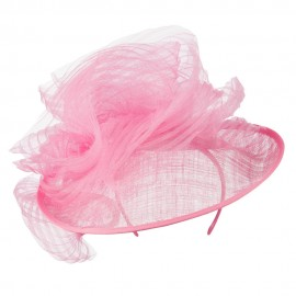 Swirled Flower Derby Fascinator - Rose