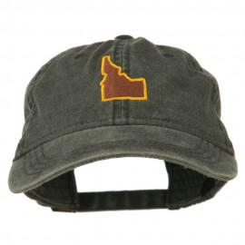 Idaho State Map Embroidered Washed Cotton Cap - Black
