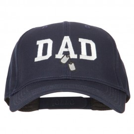 Dad with Military Dog Tags Embroidered Solid Cotton Pro Style Cap