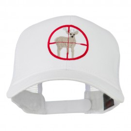 Deer Hunting Embroidered Mesh Back Cap - White