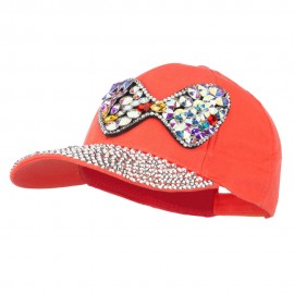 Rhinestone Bow Jeweled Cap