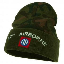 82nd Airborne Logo Embroidered Camo Long Beanie