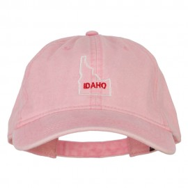 Idaho with Map Outline Embroidered Washed Cotton Twill Cap