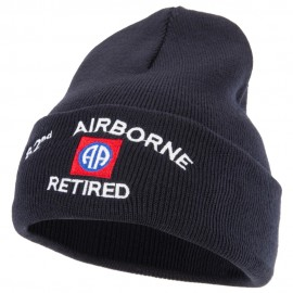 82nd Airborne Retired Logo Embroidered 12 Inch Long Knitted Beanie