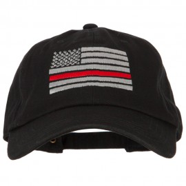 Thin Red Line American Flag Embroidered Unstructured Cotton Washed Cap