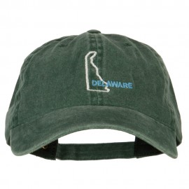 Delaware with Map Outline Embroidered Washed Cotton Twill Cap