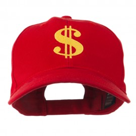 Dollar Sign Logo Embroidered Cap - Red