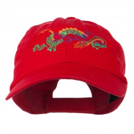 Outlined Dragon Embroidered Washed Cap