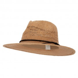 Women's Paper Open Weave Designed Crown Large Brim Fedora Hat - Tan