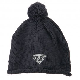 Diamond Embroidered Pom knitting Hat
