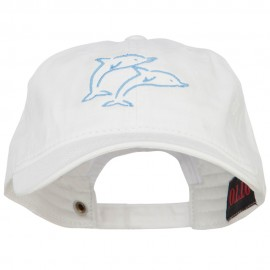 Dolphins Outline Embroidered Washed Cotton Cap