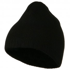Decorative Ribbed Short Beanie - Black