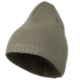 Decorative Ribbed Short Beanie - Light Grey