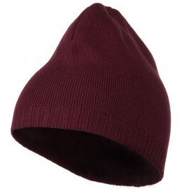 Decorative Ribbed Short Beanie - Maroon