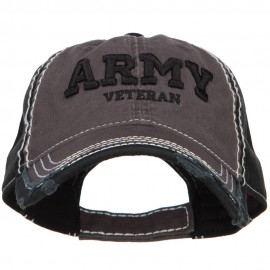 3D Army Veteran Embroidered Vintage Frayed Cap