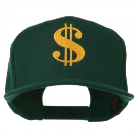 Dollar Sign Logo Embroidered Flat Bill Cap