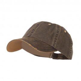 Distressed Washed Herringbone Cotton Cap - Black