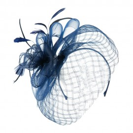 Spiral Design Net Fascinator with Feathers