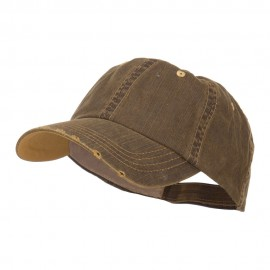 Distressed Washed Herringbone Cotton Cap - Coffee