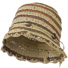 Women's Toyo Cloche Hat with Swirl Detail - Natural