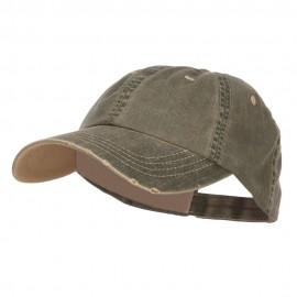 Distressed Washed Herringbone Cotton Cap - Olive