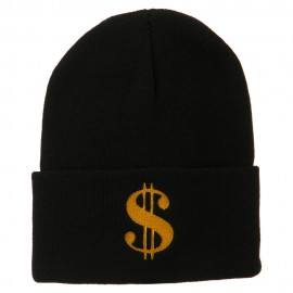 Dollar Sign Embroidered Long Knitted Beanie