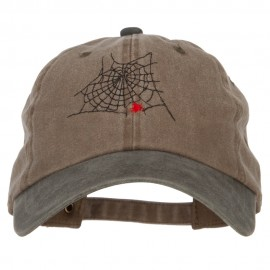 Spider Web Embroidered Unstructured Cotton Cap