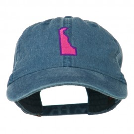 Delaware State Map Embroidered Washed Cap