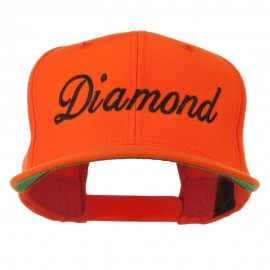 Script Diamond Embroidered Flat Bill Cap