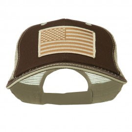 Desert American Flag Patched Big Size Washed Mesh Cap - Brown Beige