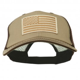 Desert American Flag Patched Big Size Washed Mesh Cap - Khaki Brown
