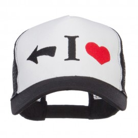 I Heart Left Embroidered 5 Panel Mesh Cap