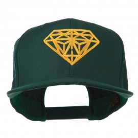 Diamond Outline Embroidered Snapback Flat Bill Cap