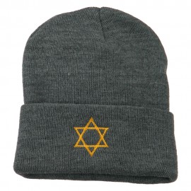 Star of David Embroidered Long Beanie - Grey