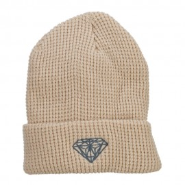 Grey Diamond Embroidered Waffle Cuff Beanie