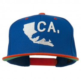3D California Map Bear Embroidered Two Tone Snapback Cap