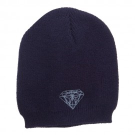 Big Size Grey Diamond Embroidered Rib Beanie - Navy