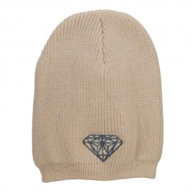Grey Diamond Embroidered Rib Beanie