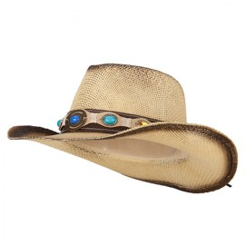 Pleather Precious Stone Accented Straw Cowboy Hat