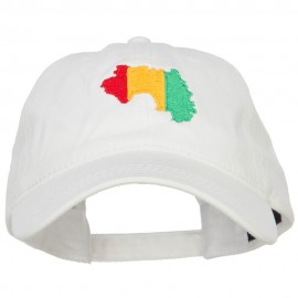 Guinea Map Flag Embroidered Washed Cap