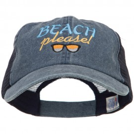 Beach Please Embroidered Washed Twill Trucker Cap