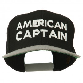 American Captain Embroidered Snapback Cap - Black Silver