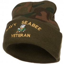 US Navy Seabee Veteran Military Embroidered Camo Knit Long Beanie